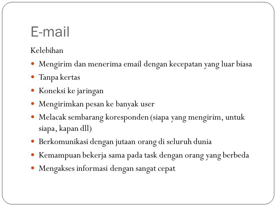 E-mail Kelebihan. Mengirim dan menerima email dengan kecepatan yang luar biasa. Tanpa kertas. Koneksi ke jaringan.