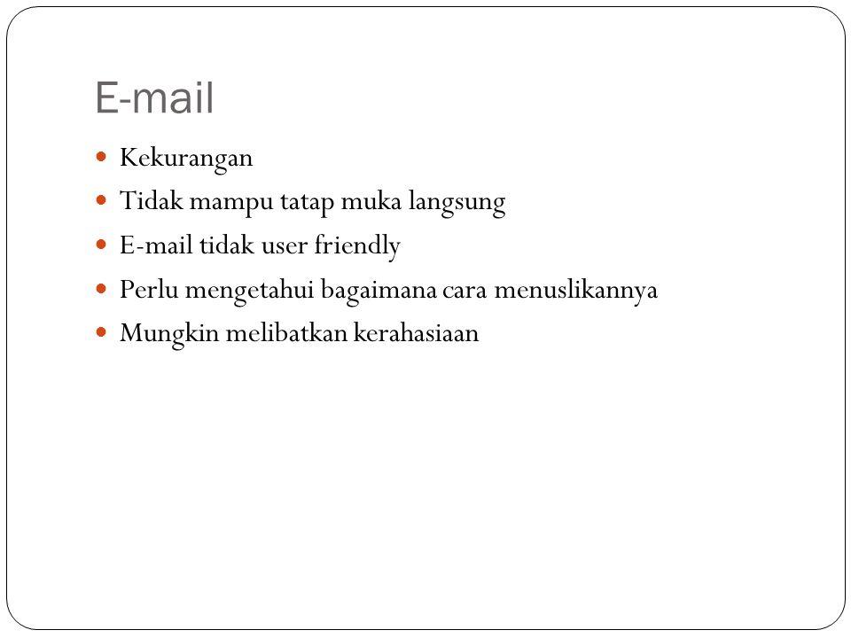 E-mail Kekurangan Tidak mampu tatap muka langsung