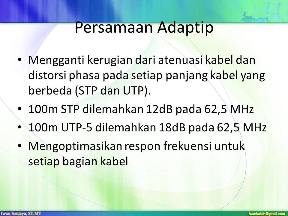 Persamaan Adaptip Mengganti kerugian dari atenuasi kabel dan distorsi phasa pada setiap panjang kabel yang berbeda (STP dan UTP).