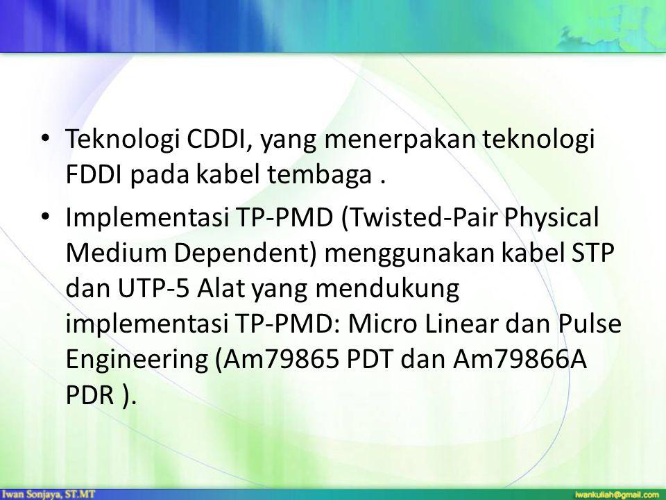 Teknologi CDDI, yang menerpakan teknologi FDDI pada kabel tembaga .