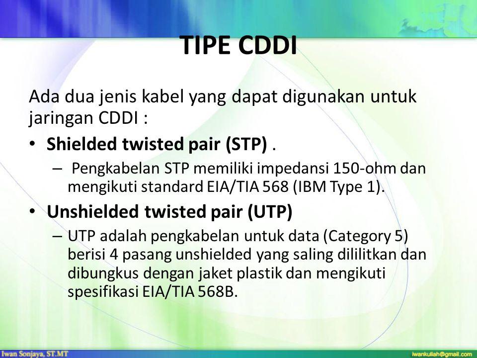 Tipe CDDI Ada dua jenis kabel yang dapat digunakan untuk jaringan CDDI : Shielded twisted pair (STP) .