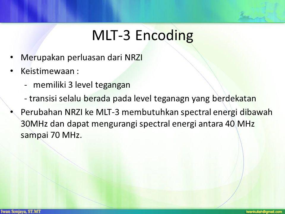 MLT-3 Encoding Merupakan perluasan dari NRZI Keistimewaan :