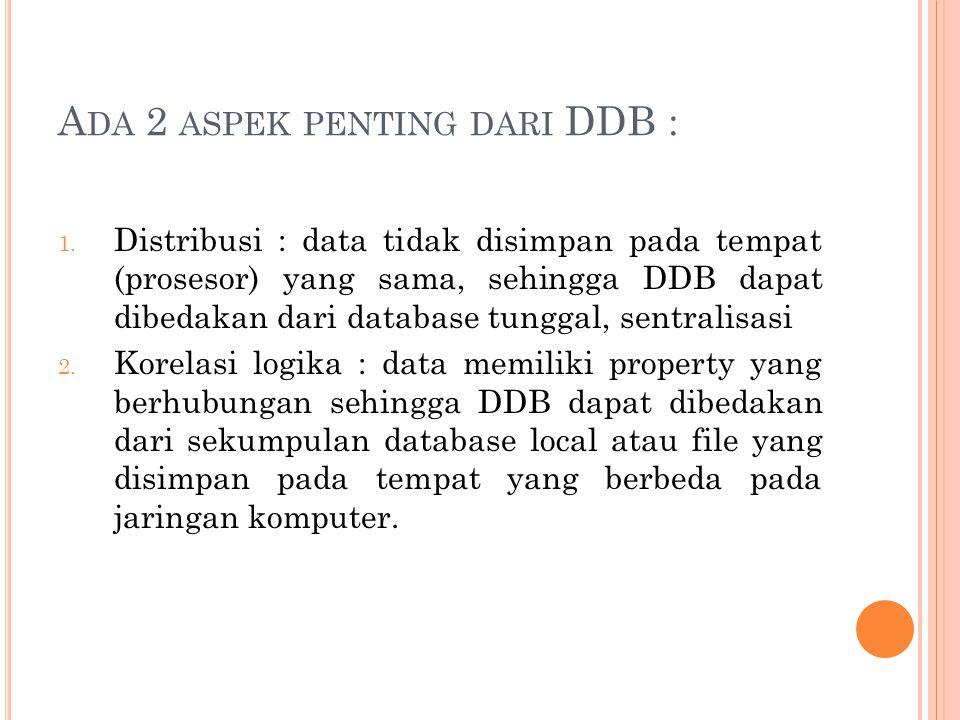 Ada 2 aspek penting dari DDB :