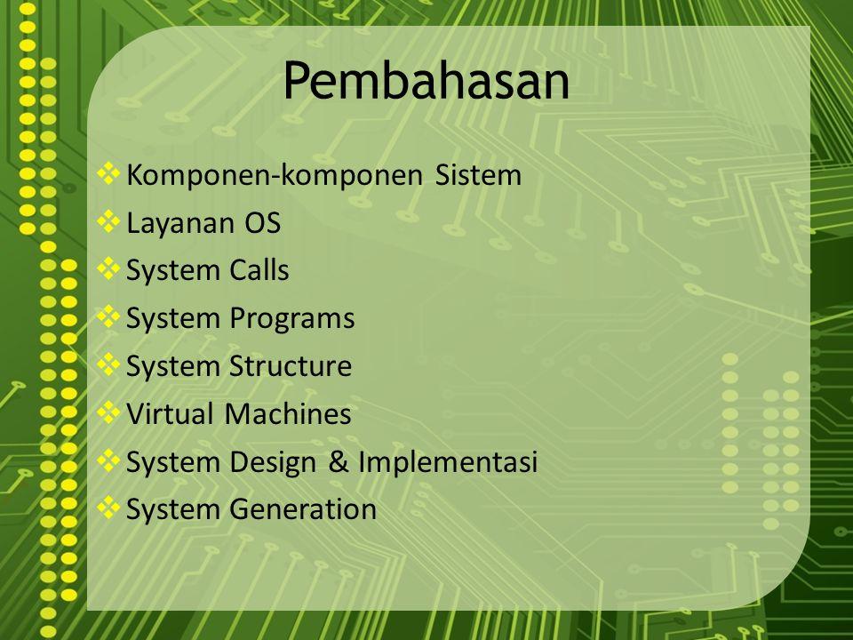 Pembahasan Komponen-komponen Sistem Layanan OS System Calls