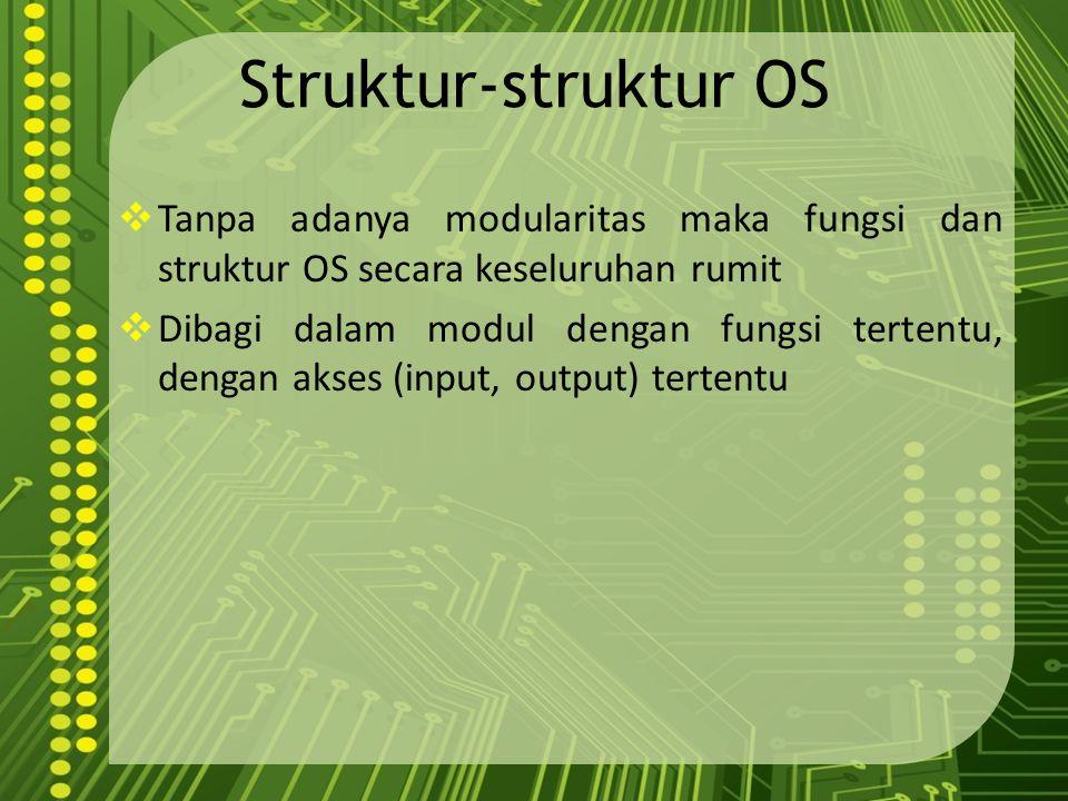 Struktur-struktur OS Tanpa adanya modularitas maka fungsi dan struktur OS secara keseluruhan rumit.