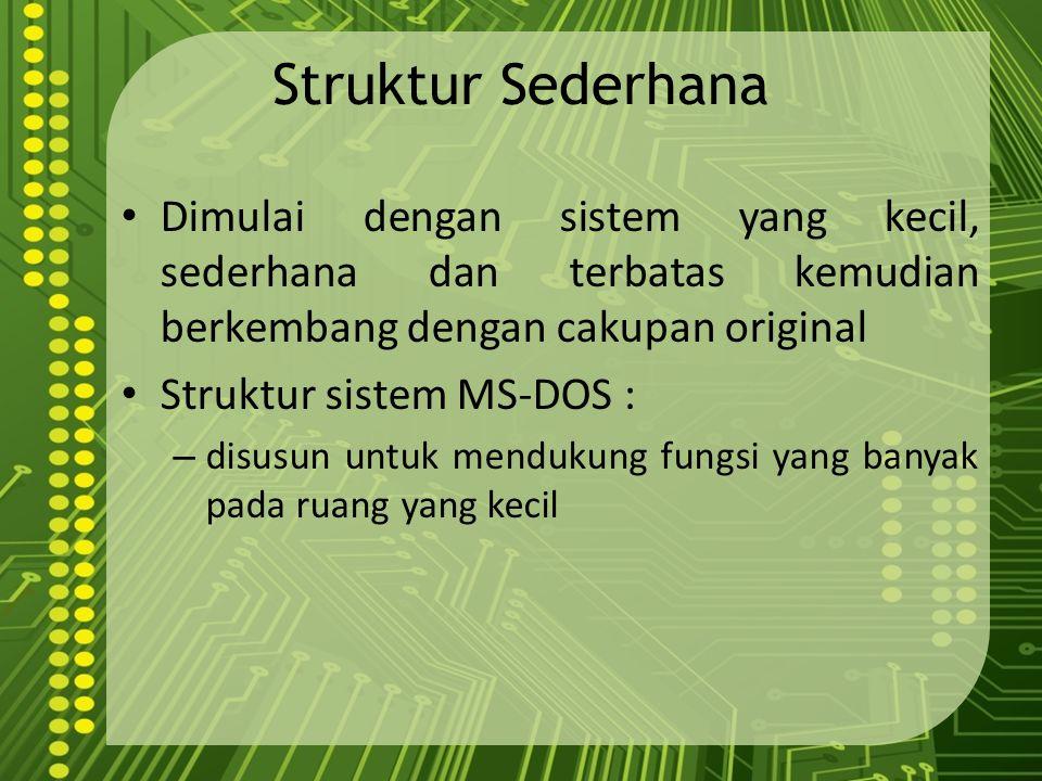 Struktur Sederhana Dimulai dengan sistem yang kecil, sederhana dan terbatas kemudian berkembang dengan cakupan original.