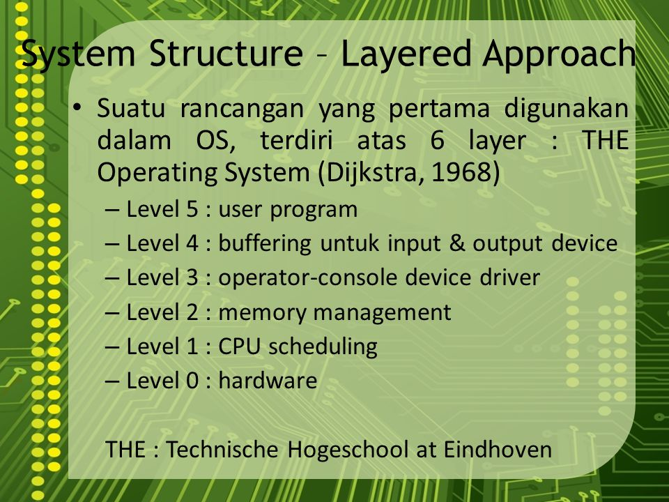 System Structure – Layered Approach