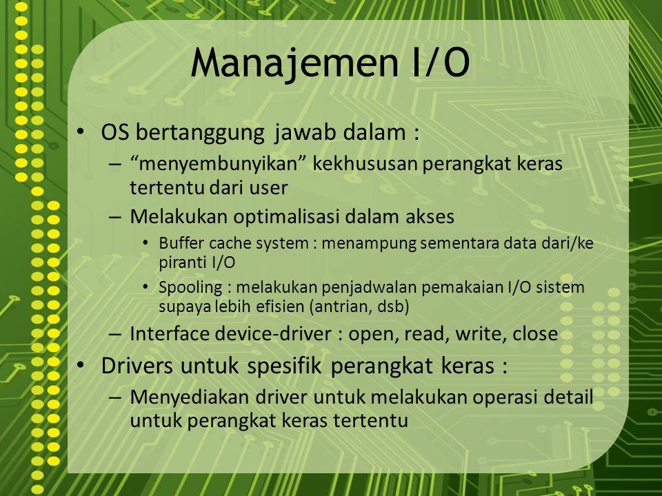 Manajemen I/O OS bertanggung jawab dalam :