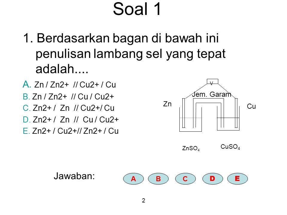Soal 1 1. Berdasarkan bagan di bawah ini penulisan lambang sel yang tepat adalah.... A. Zn / Zn2+ // Cu2+ / Cu.