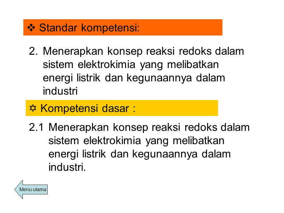 Standar kompetensi: 2. Menerapkan konsep reaksi redoks dalam sistem elektrokimia yang melibatkan energi listrik dan kegunaannya dalam industri.