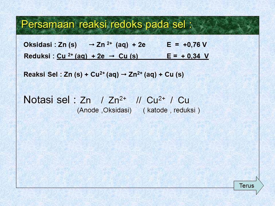Persamaan reaksi redoks pada sel :