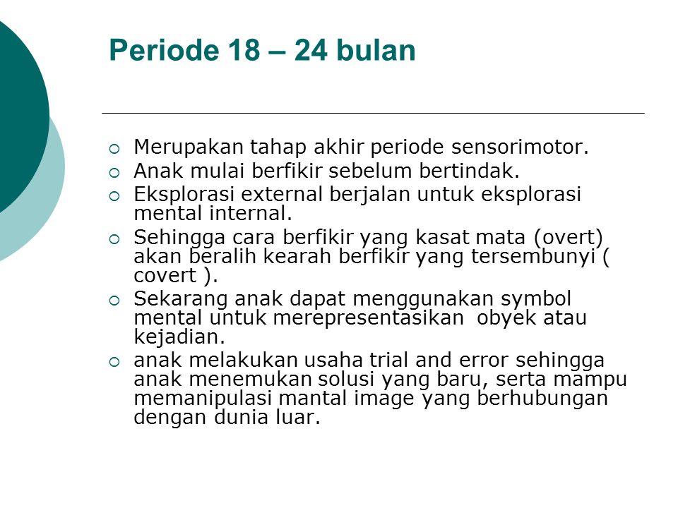 Periode 18 – 24 bulan Merupakan tahap akhir periode sensorimotor.