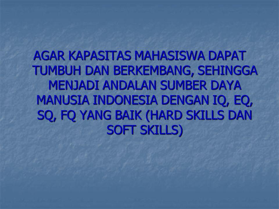 AGAR KAPASITAS MAHASISWA DAPAT TUMBUH DAN BERKEMBANG, SEHINGGA MENJADI ANDALAN SUMBER DAYA MANUSIA INDONESIA DENGAN IQ, EQ, SQ, FQ YANG BAIK (HARD SKILLS DAN SOFT SKILLS)