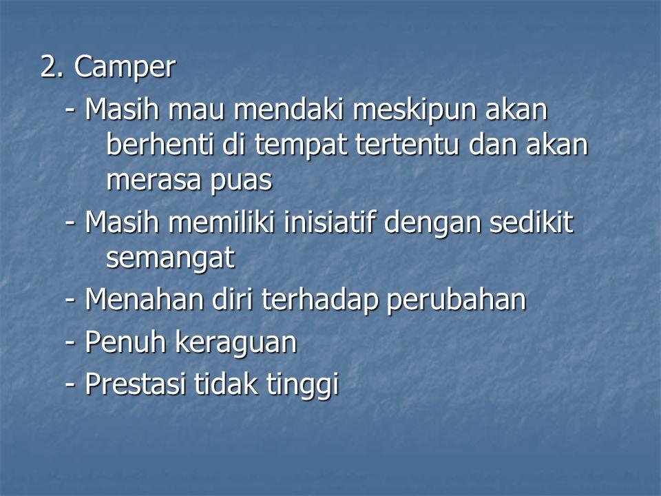 2. Camper - Masih mau mendaki meskipun akan berhenti di tempat tertentu dan akan merasa puas.