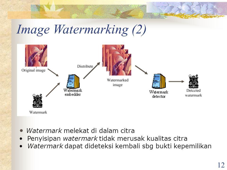 Image Watermarking (2) Watermark melekat di dalam citra