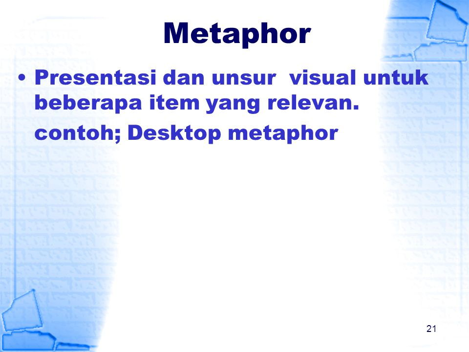 Metaphor Presentasi dan unsur visual untuk beberapa item yang relevan.