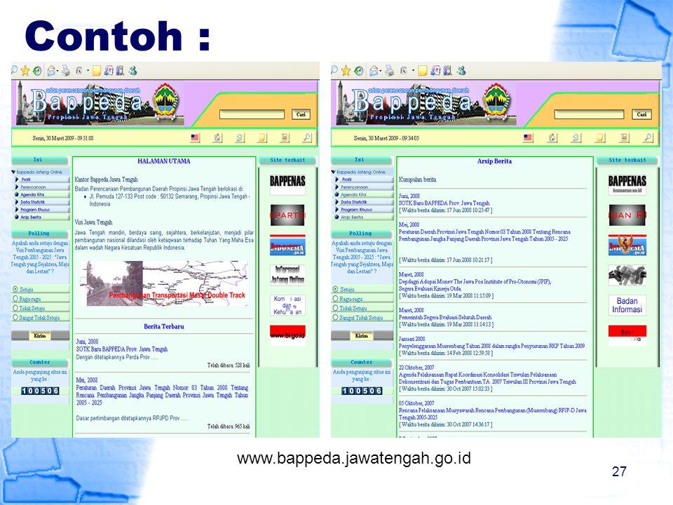 Contoh : www.bappeda.jawatengah.go.id