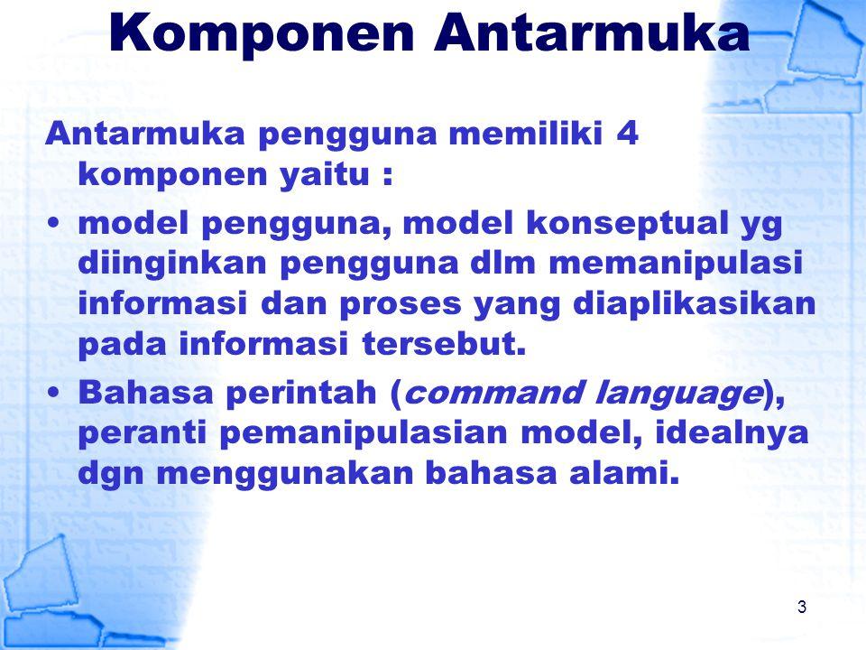 Komponen Antarmuka Antarmuka pengguna memiliki 4 komponen yaitu :