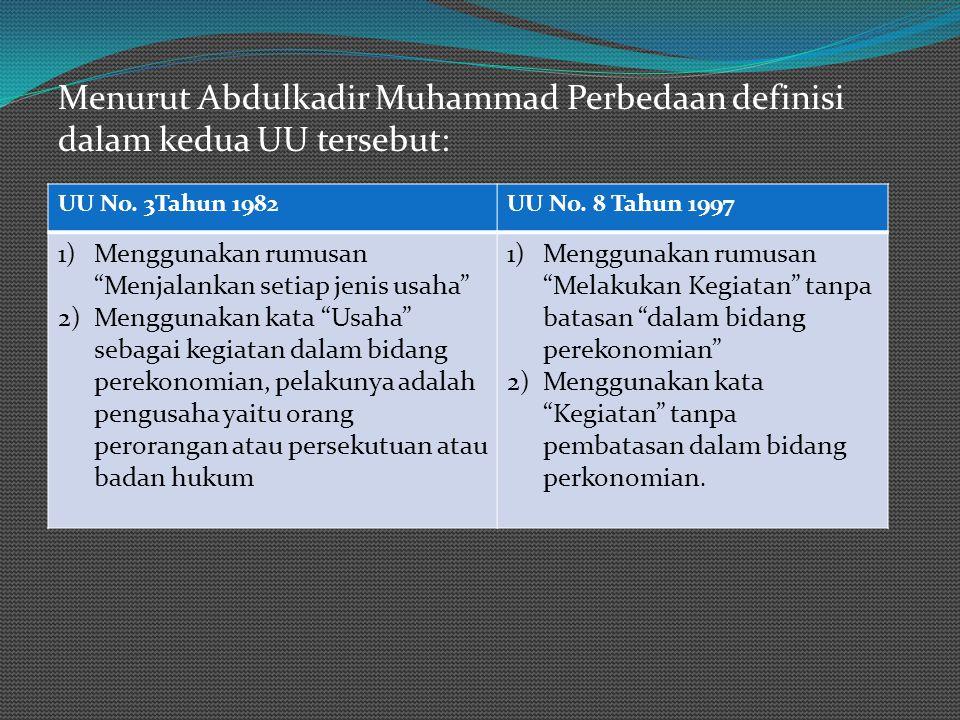 Menurut Abdulkadir Muhammad Perbedaan definisi dalam kedua UU tersebut: