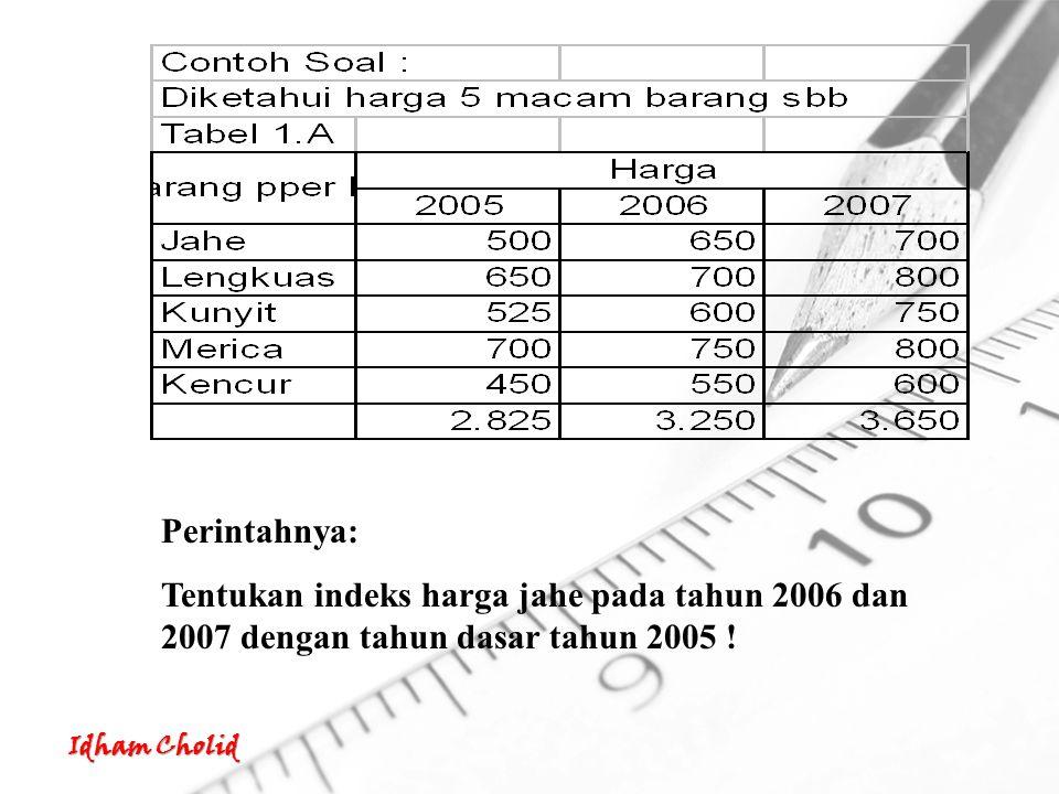 Perintahnya: Tentukan indeks harga jahe pada tahun 2006 dan 2007 dengan tahun dasar tahun 2005 !