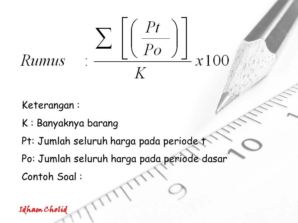 Keterangan : K : Banyaknya barang. Pt: Jumlah seluruh harga pada periode t. Po: Jumlah seluruh harga pada periode dasar.