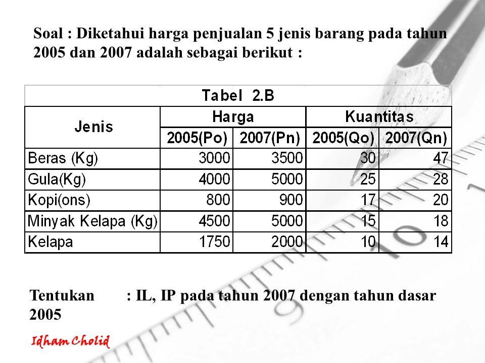 Soal : Diketahui harga penjualan 5 jenis barang pada tahun 2005 dan 2007 adalah sebagai berikut :