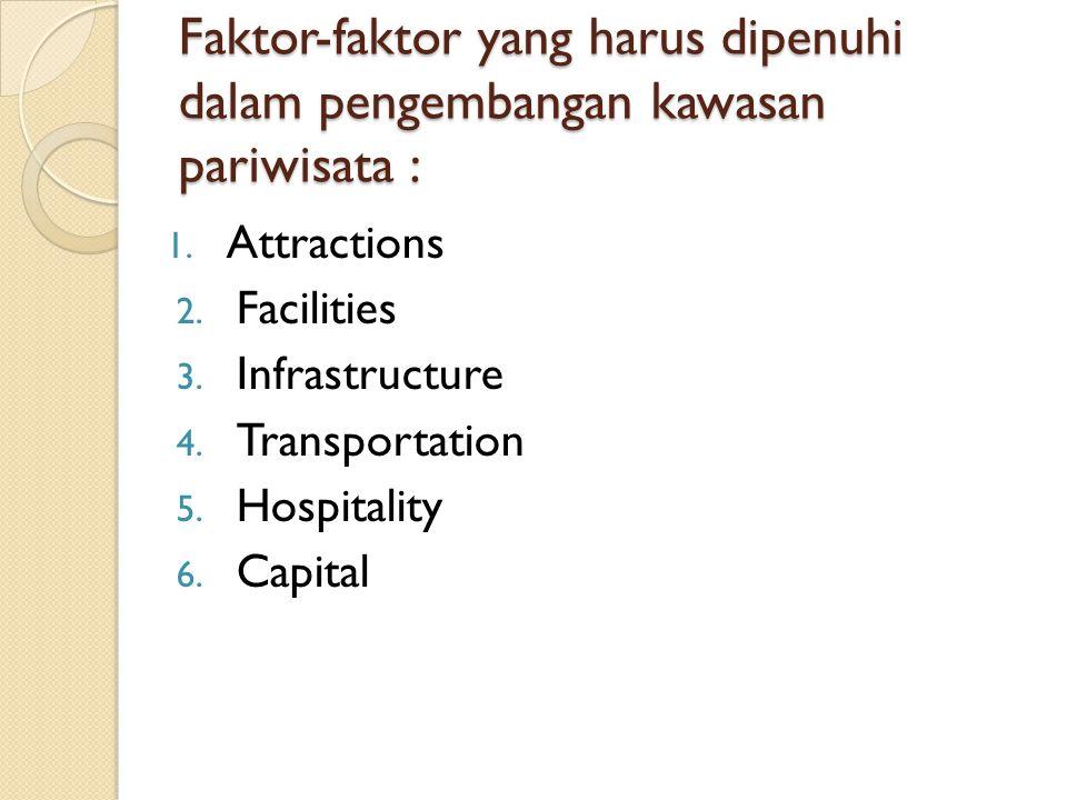 Faktor-faktor yang harus dipenuhi dalam pengembangan kawasan pariwisata :