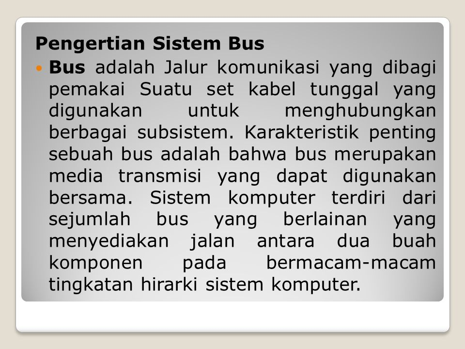 Pengertian Sistem Bus