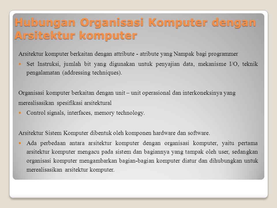 Hubungan Organisasi Komputer dengan Arsitektur komputer