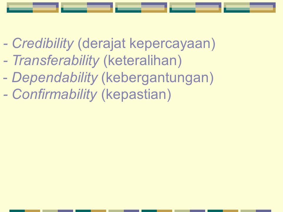 - Credibility (derajat kepercayaan)