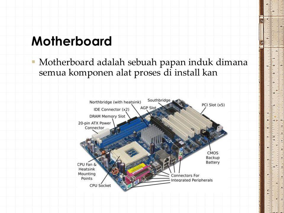 Motherboard Motherboard adalah sebuah papan induk dimana semua komponen alat proses di install kan