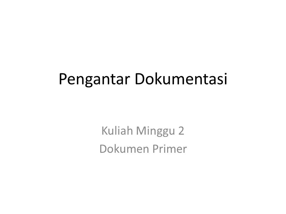 Pengantar Dokumentasi