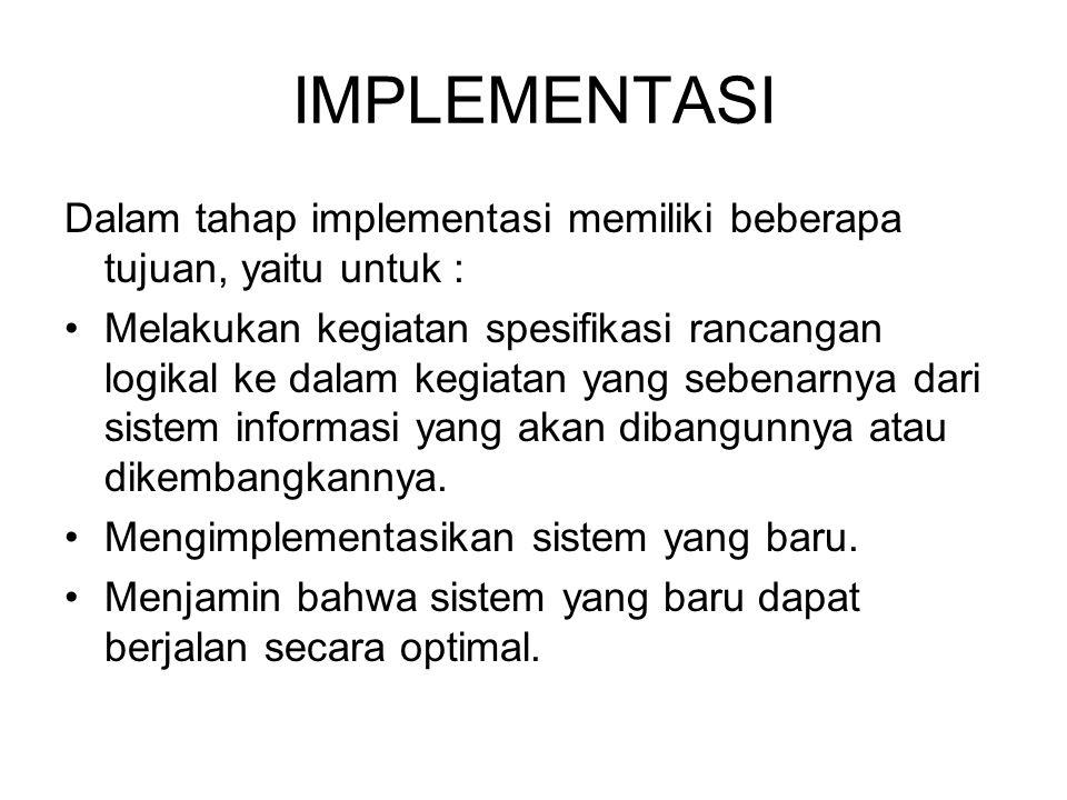 IMPLEMENTASI Dalam tahap implementasi memiliki beberapa tujuan, yaitu untuk :