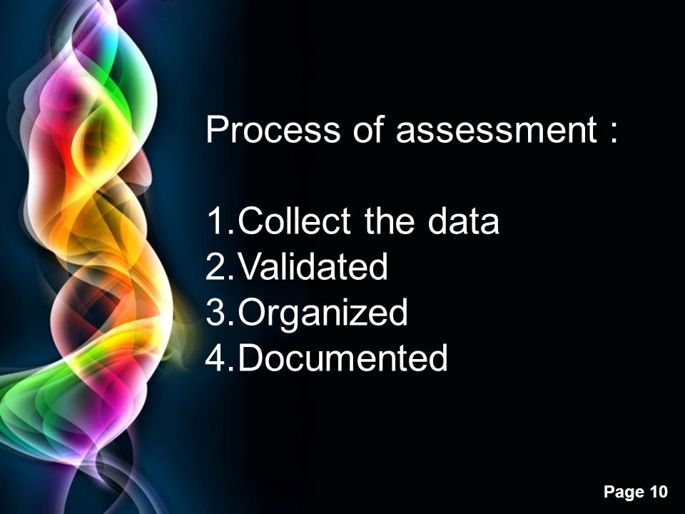 Process of assessment :