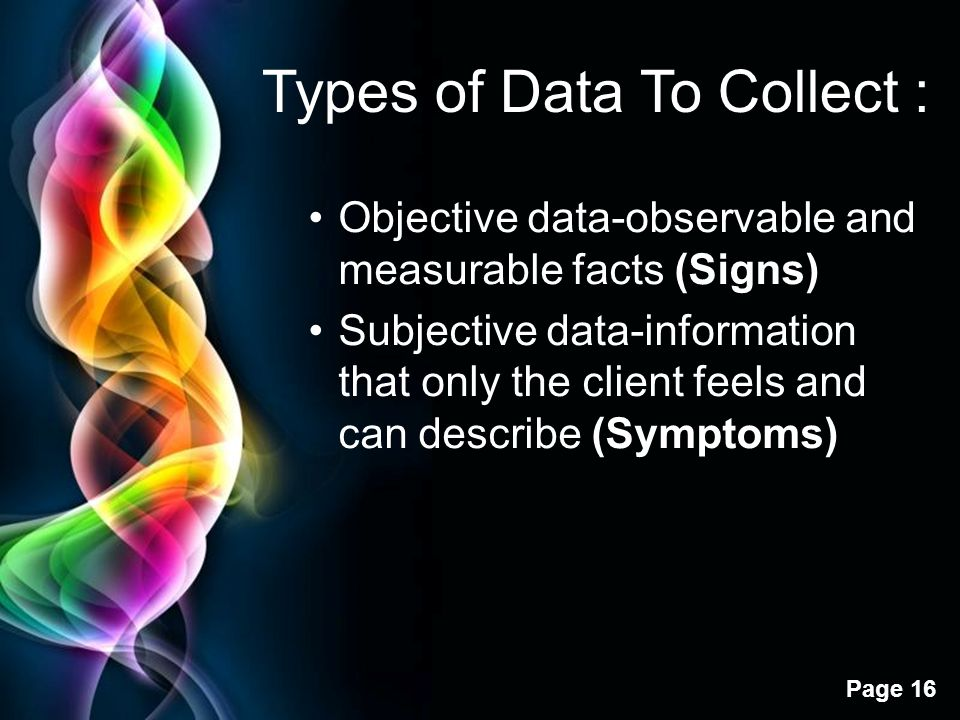 Types of Data To Collect :