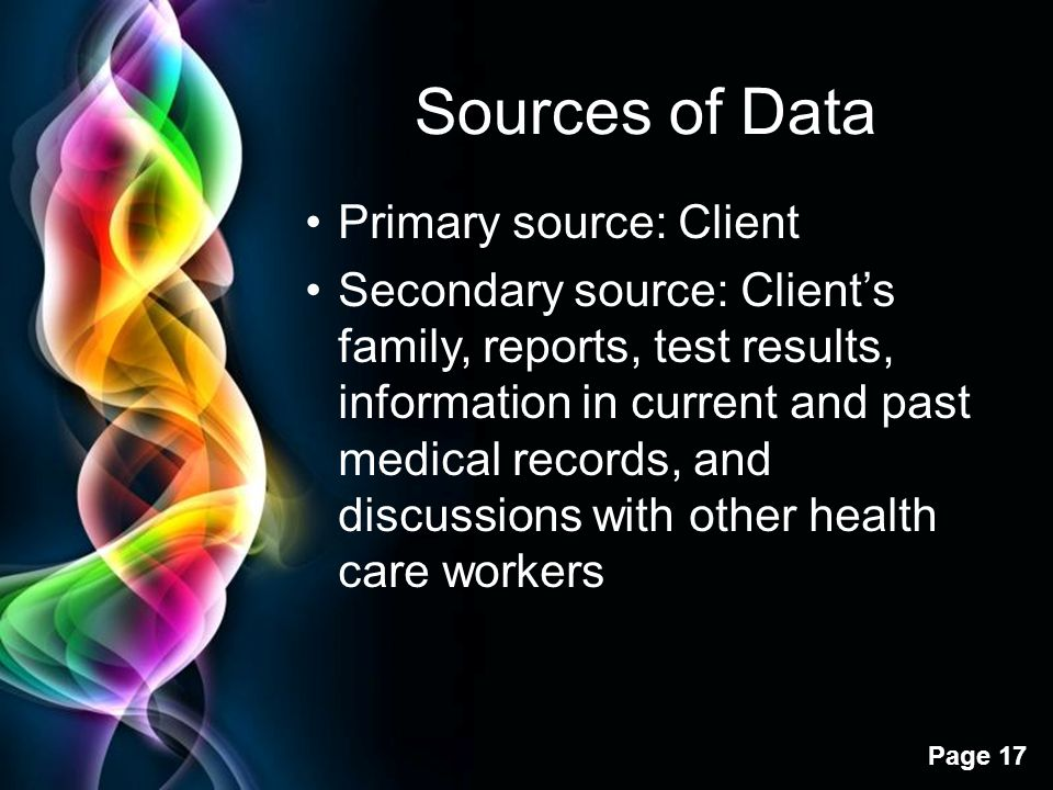 Sources of Data Primary source: Client