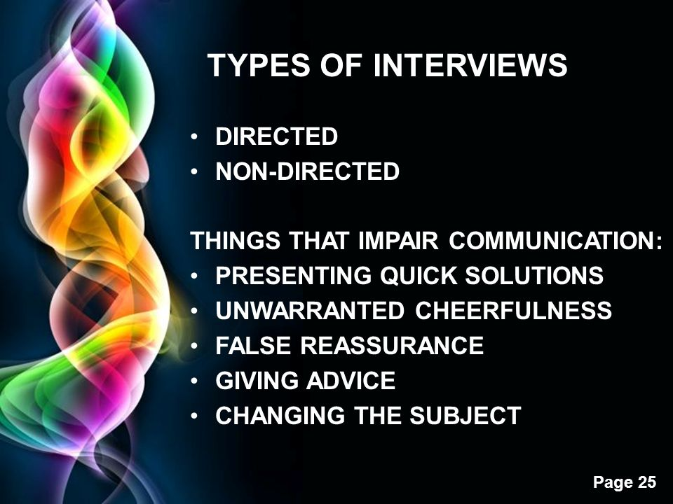 TYPES OF INTERVIEWS DIRECTED NON-DIRECTED