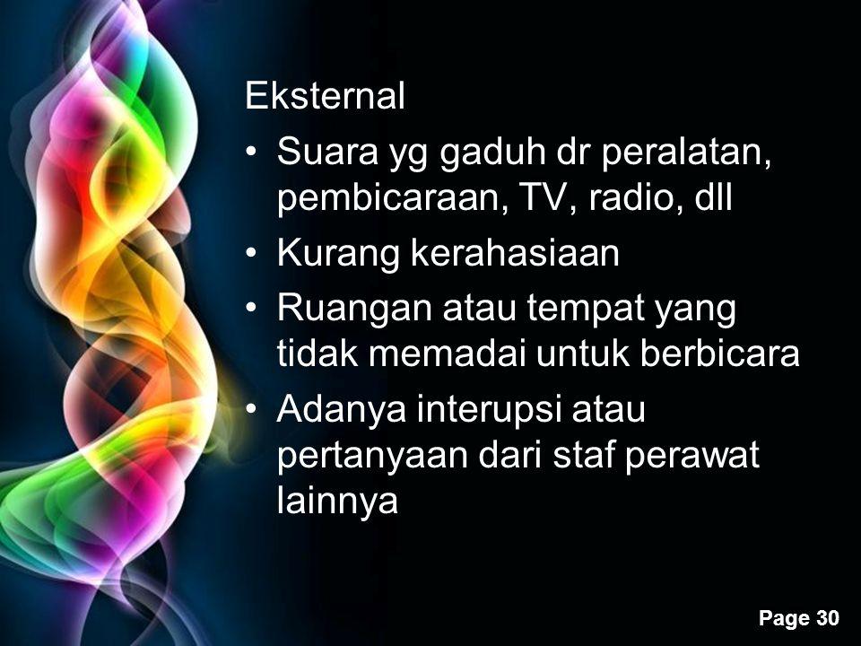 Eksternal Suara yg gaduh dr peralatan, pembicaraan, TV, radio, dll. Kurang kerahasiaan. Ruangan atau tempat yang tidak memadai untuk berbicara.