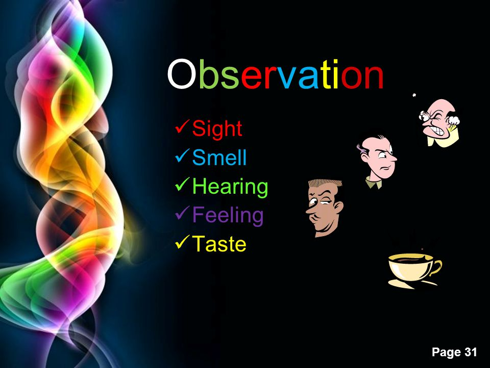 Observation Sight Smell Hearing Feeling Taste