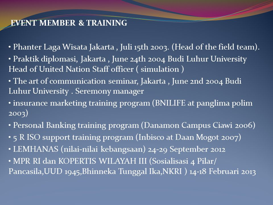 EVENT MEMBER & TRAINING