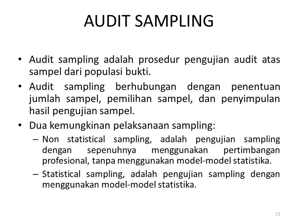 AUDIT SAMPLING Audit sampling adalah prosedur pengujian audit atas sampel dari populasi bukti.