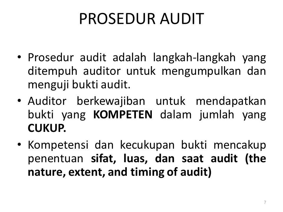 PROSEDUR AUDIT Prosedur audit adalah langkah-langkah yang ditempuh auditor untuk mengumpulkan dan menguji bukti audit.