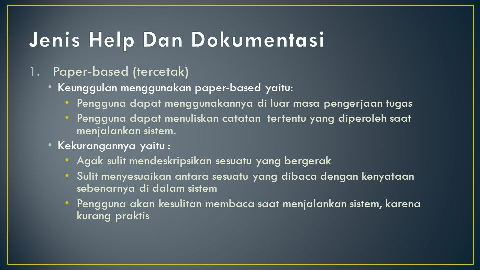 Jenis Help Dan Dokumentasi