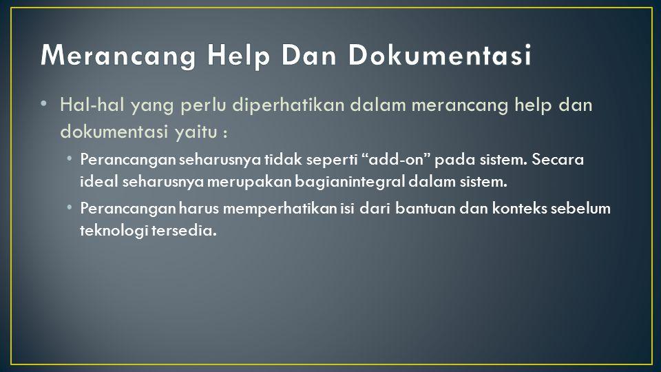 Merancang Help Dan Dokumentasi