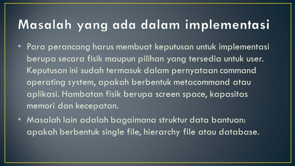 Masalah yang ada dalam implementasi