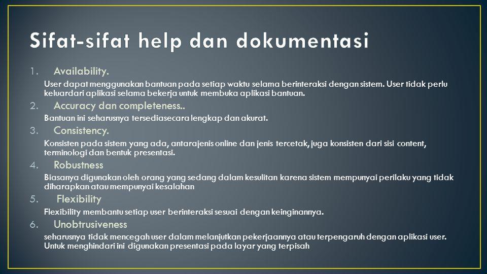 Sifat-sifat help dan dokumentasi
