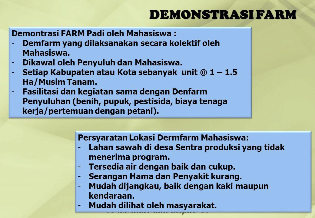 DEMONSTRASI FARM Demontrasi FARM Padi oleh Mahasiswa :