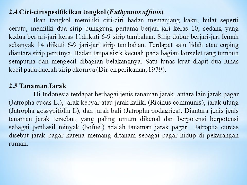 2.4 Ciri-ciri spesifik ikan tongkol (Euthynnus affinis)