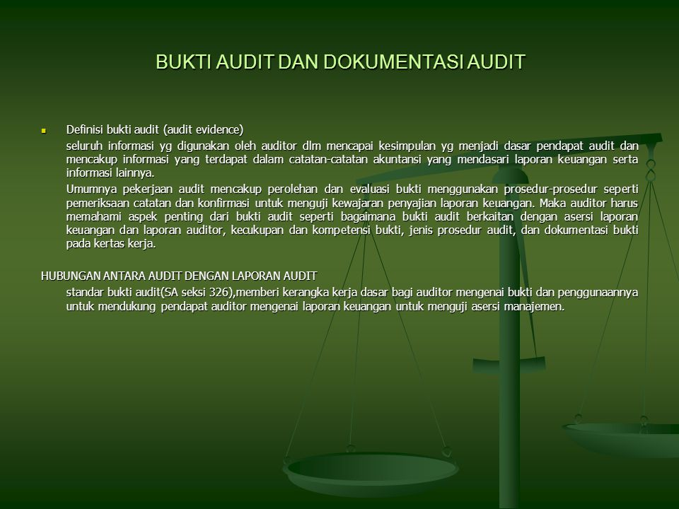 BUKTI AUDIT DAN DOKUMENTASI AUDIT