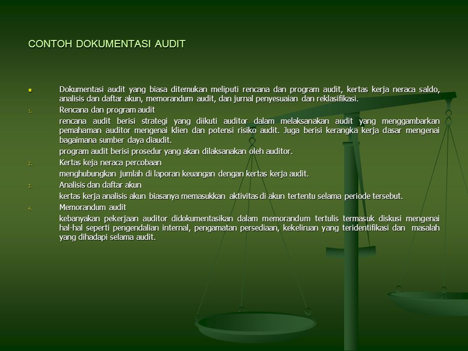 CONTOH DOKUMENTASI AUDIT